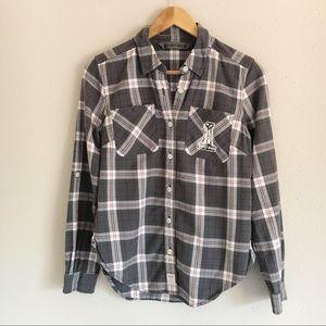 Harley Davidson Gray Plaid Button Front Shirt